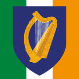 Ireland coat of arm and flag Royalty Free Stock Photos