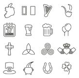 Ireland Country & Culture Icons Thin Line Vector Illustration Set Royalty Free Stock Photos