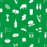 Ireland country theme icons green and white seamless Stock Image