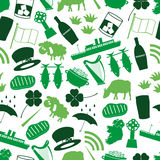 Ireland country theme symbols color icons seamless pattern eps10 Stock Images