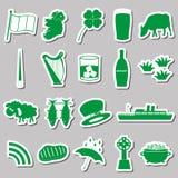 Ireland country theme symbols green stickers set Stock Photos