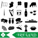 Ireland country theme symbols outline icons set Royalty Free Stock Image
