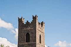 Ireland. Dublin. Church of St. Audoen. Detail of the battlements on the top of the bell tower built in 17th century AD Stock Photos