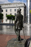 Ireland. Dublin. James Joyce. The bronze statue of the irish writer than watch to GPO and The Spire in OConnell Street Stock Photo