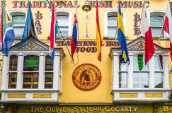 Ireland. Dublin,  Ireland - July 31, 2013: The favade of a restaurant of the Temple Bar quarter Royalty Free Stock Image