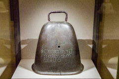 Ireland. Dublin. National Museum of Ireland. Archaeology. The Bell of Seagoe, 10th century AD. The Gaelic inscription above this irish hand-bell says: A prayer Royalty Free Stock Images