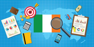 Ireland economy economic condition country with graph  Royalty Free Stock Images