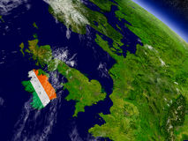 Ireland with embedded flag on Earth Royalty Free Stock Photography
