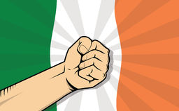 Ireland europe country fight protest symbol with strong hand and flag as background Royalty Free Stock Photo