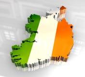 ireland för flagga 3d översikt stock illustrationer