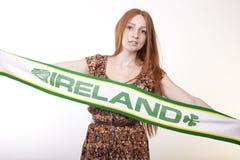 Ireland fan. Young woman Ireland fan Royalty Free Stock Image
