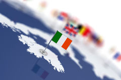 Ireland flag in the focus. Europe map with countries flags Stock Image