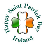Ireland flag with four leaves clover Stock Image