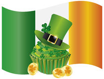 Ireland Flag with Hat Cupcake Coins and Shamrock Royalty Free Stock Photos