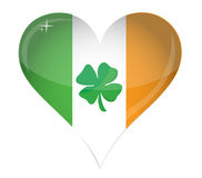 Ireland Flag Heart Glossy and clover Royalty Free Stock Photos