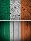 Ireland Flag. Painted on old wood background stock image