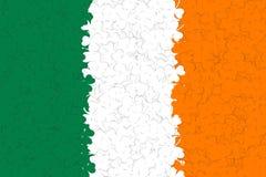 Ireland flag of many green, white, yellow shamrocks leaf. Decoration background for St. Patricks da. Y. Vector illustration Royalty Free Stock Image