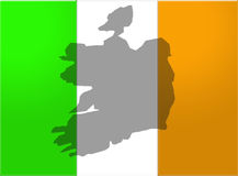Ireland flag and map Stock Photos
