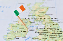 Ireland flag on map. Ireland paper flag pin on a map (series image stock image