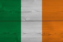 Ireland flag painted on old wood plank. Patriotic background. National flag of Ireland stock illustration