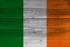 Ireland flag painted on old wood plank. Patriotic background. National flag of Ireland royalty free stock images