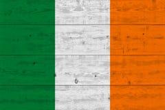 Ireland flag painted on old wood plank. Patriotic background. National flag of Ireland stock photography