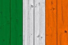 Ireland flag painted on old wood plank. Patriotic background. National flag of Ireland stock images