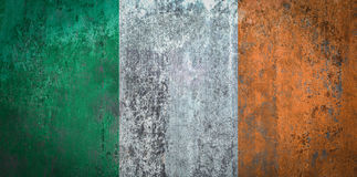 Ireland Flag painted on a Wall. Ddistressed Painting of a Flag on an old Wall Royalty Free Stock Image