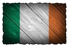 Ireland Flag. Painted on wood tag stock image