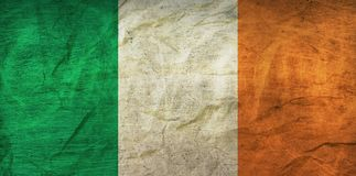 Ireland Flag on Paper. Flag on an old Paper Texture Royalty Free Stock Image