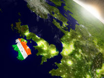 Ireland with flag in rising sun Stock Photo