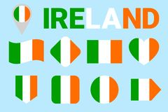 Ireland flag set. Vector collection of Irish national flags. Flat isolated icons. Country name in traditional colors. St Patrick` royalty free illustration