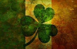 Ireland Flag with Shamrock Grunge Background Illustration Stock Image