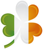 Ireland Flag with Shamrock Silhouette Illustration Stock Image