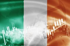 Ireland flag, stock market, exchange economy and Trade, oil production, container ship in export and import business and logistics. Background, banner, candle stock illustration