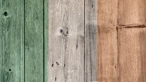 Ireland Flag Wooden Fence. Ireland Politics News Concept: Irish Flag Wooden Fence stock image