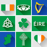 Ireland Flat Icon Set. Vector graphic flat icons representing symbols and landmarks of the Republic of Ireland Royalty Free Stock Image