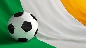 Ireland football. Soccer ball on a flag Ireland Royalty Free Stock Photos