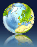 Ireland on globe with reflection. Illustration with detailed planet surface. Elements of this image furnished by NASA Royalty Free Stock Photography