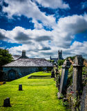 Ireland graveyard landscape hiking royalty free stock photo