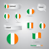 Ireland icon set of flags Royalty Free Stock Photos