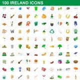 100 ireland icons set, cartoon style. 100 ireland icons set in cartoon style for any design illustration vector illustration