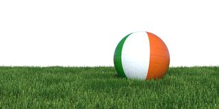 Ireland Irish flag soccer ball lying in grass world cup 2018. Isolated on white background. 3D Rendering, Illustration Stock Photos