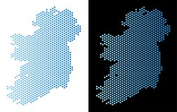Ireland Island Map Hex Tile Mosaic. Hexagonal Ireland Island map. Vector geographic plan in light blue color with horizontal gradient on white and black vector illustration