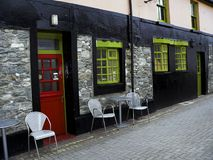 Ireland. Killarney - Cill Airne. The colors of the exterior facade of a pub in the town center of Killarney in County Kerry Royalty Free Stock Photos