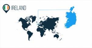 Ireland with flag on globe stock illustration. Illustration of world ...