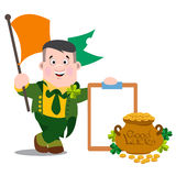 The Ireland man with the flag. St. Patrick s Day. Royalty Free Stock Photography