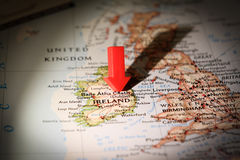Ireland Map. Abstract image of Ireland map with an arrow pointing to it Stock Photo