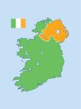 Ireland map. Map or ireland depicting north/south boundaries. Northern Ireland shown in orange, Irish Republic shown in green. Irish flag also shown Royalty Free Stock Photography