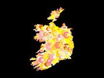 Ireland map with euros Stock Photos